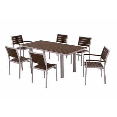 Euro 7 Piece Dining Set Frame Finish: Textured Silver, Top/Back Finish: Mahogany
