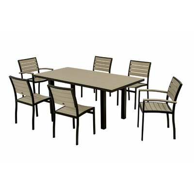 Euro 7 Piece Dining Set Frame Finish: Textured Black, Top/Back Finish: Sand