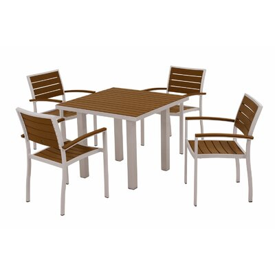 Euro 5 Piece Dining Set Frame Finish: Textured Silver, Top/Back Finish: Teak