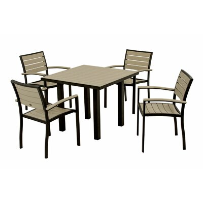 Euro 5 Piece Dining Set Frame Finish: Textured Black, Top/Back Finish: Sand
