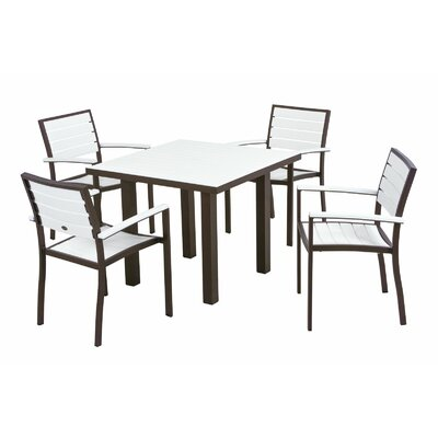 Euro 5 Piece Dining Set Frame Finish: Textured Bronze, Top/Back Finish: White