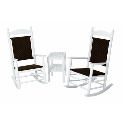 Jefferson 3 Piece Woven Rocker Set Frame Finish: White, Seat/Back Finish: Cahaba