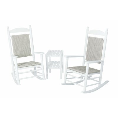 Jefferson 3 Piece Woven Rocker Set Frame Finish: White Frame, Seat/Back Finish: White Loom