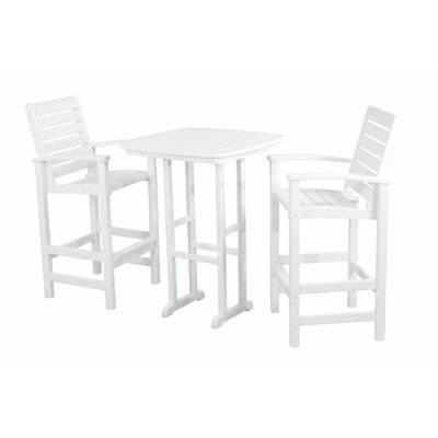 Signature 3 Piece Bar Height Dining Set Finish: White