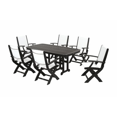 Coastal 7 Piece Dining Set Finish: Black