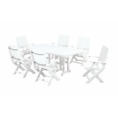 Coastal 7 Piece Dining Set Finish: White