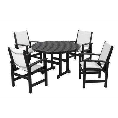 Coastal 5 Piece Dining Set Finish: Black