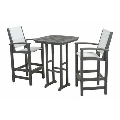 Coastal 3 Piece Bar Set Finish: Slate Grey