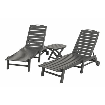 Nautical 3 Piece Chaise Set Finish: Slate Grey