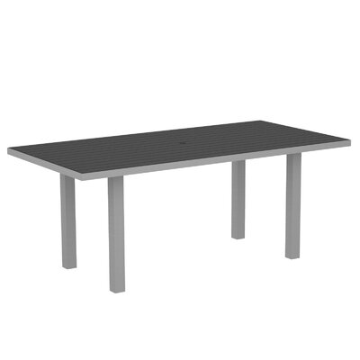Euro Rectangle Dining Table Textured Silver Aluminum Frame Slate Grey picture