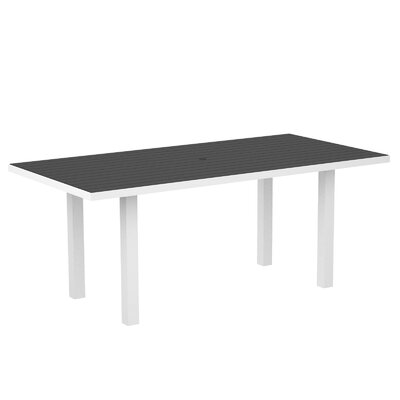 Euro Dining Table Finish: Textured White Aluminum Frame / Slate Grey