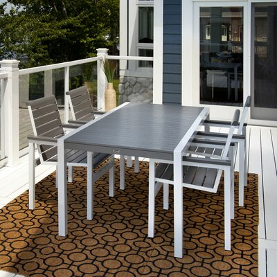 Polywood Mod Dining Table - Top Color: Teak, Frame Finish: Gloss White