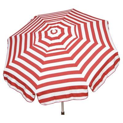 6 Italian Beach Umbrella Fabric: Red / White