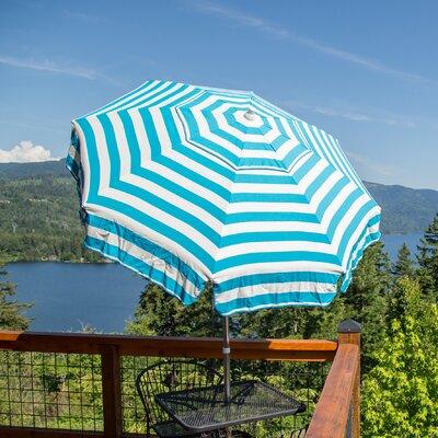 6 Italian Drape Umbrella Color: Turquoise/ White