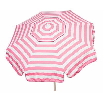 6 Italian Beach Umbrella Fabric: Pink / White
