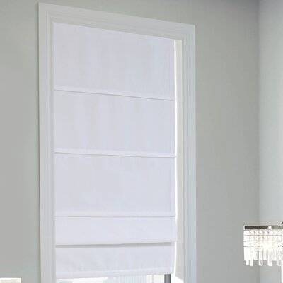 Lined Semi-Sheer Roman Shade Blind Size: 27 W x 63 L, Finish: White