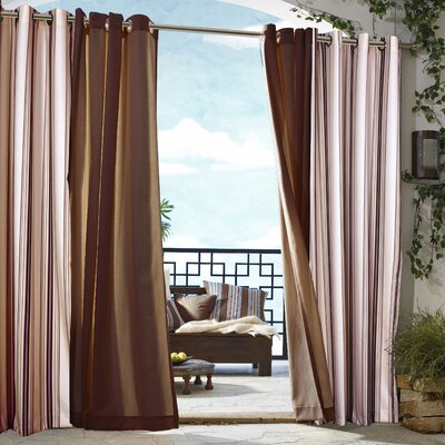 "Commonwealth Home Fashions Outdoor Décor Gazebo Outdoor Stripe Grommet Top Curtain Panel in Khaki - Size: 84"" H x 50"" W at Sears.com"
