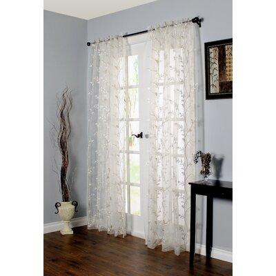 Alois Nature/Floral Sheer Rod pocket Single Curtain Panel