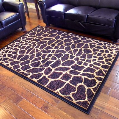 African Adventure Giraffe Skin Print Dark Brown Area Rug