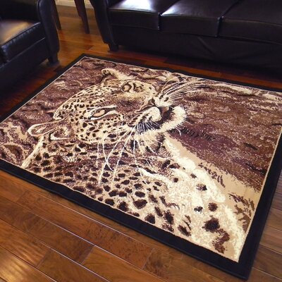 African Adventure Leopard Head Brown Area Rug