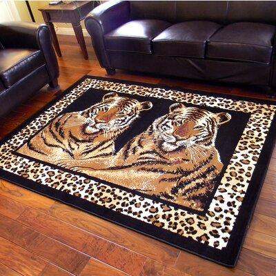 African Adventure Camel Twin Tigers Leopard Skin Print Area Rug