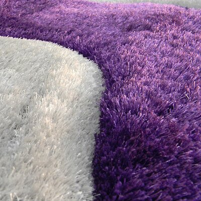 Shaggy Purple/Ivory Abstract 2-Tone Wavy Area Rug