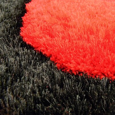 Shaggy Red/Black Abstract 2-Tone Large Wave Area Rug