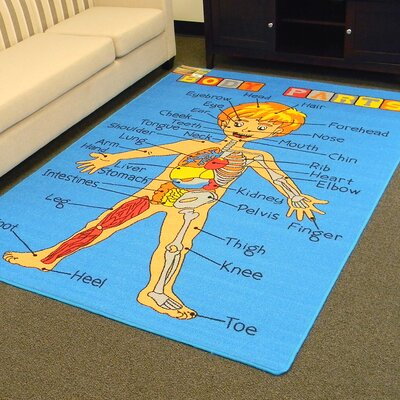 Paradise Body Parts Blue Indoor Area Rug