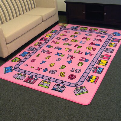 Paradise Alphabets Train Pink Indoor Area Rug