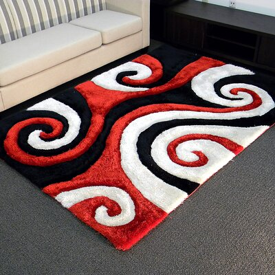 Shaggy Red/Ivory Abstract Swirl Area Rug