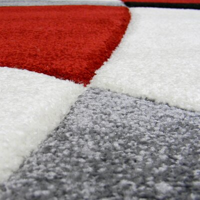 Hollywood Red Abstract Wave Area Rug