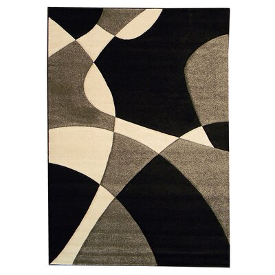 Hollywood Black Abstract Wave Area Rug