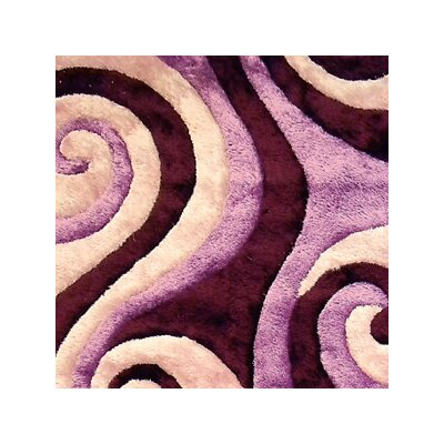 Shaggy Purple/Black Abstract Swirl Area Rug