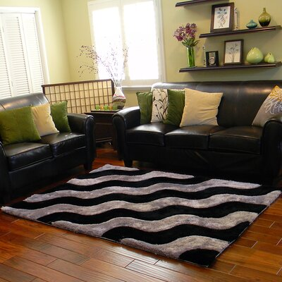 3D Shaggy Abstract 2-Tone Wavy Black/Gray Area Rug