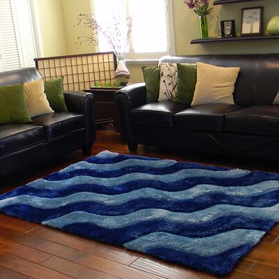 3D Shaggy Abstract 2-Tone Wavy Cobalt Blue Area Rug