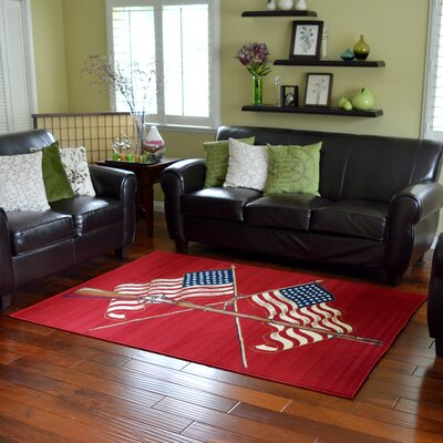 American Patriot American Flags and Gun Area Rug