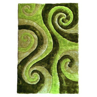 3D Shaggy Abstract Swirl Green Area Rug
