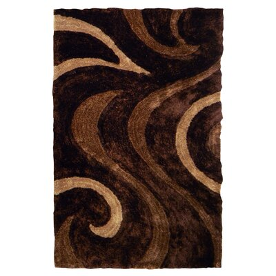 3D Shaggy Abstract Wavy Swirl Chocolate Area Rug