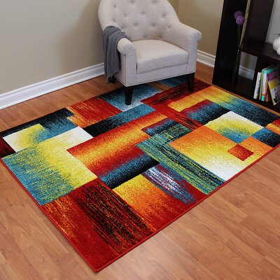 Rainbow Abstract Block Area Rug