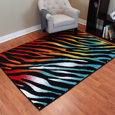 Rainbow Black Animal Area Rug