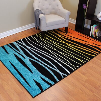 Rainbow Black Abstract Wave Area Rug