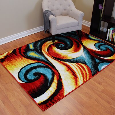 Rainbow Abstract Swirl Area Rug