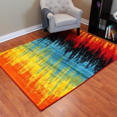 Rainbow Abstract Line Area Rug