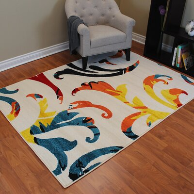 Rainbow White Floral Area Rug