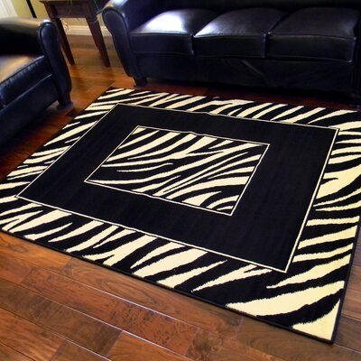 African Adventure Black Zebra Skin Border Area Rug