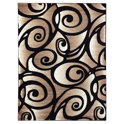 Sculpture Abstract Swirl Black Area Rug