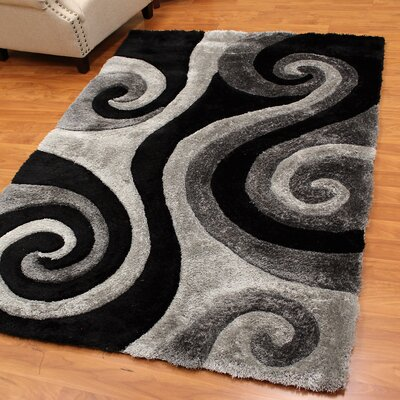 Abstract Swirl Gray Area Rug