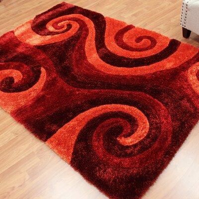 Abstract Swirl Burgundy Area Rug