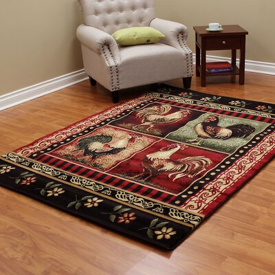 Lodge Brown/Red Area Rug Rug Size: 5 x 7