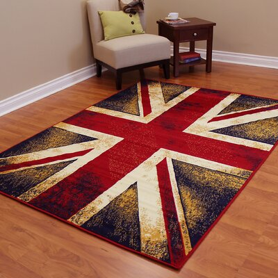 American Patriot Flag of England Union Maroon Red/Black Area Rug